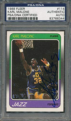 1988/89 Fleer #114 Karl Malone Certified Authentic Signed Auto *6344 - PSA/DNA Certified - Basketball Autographed -