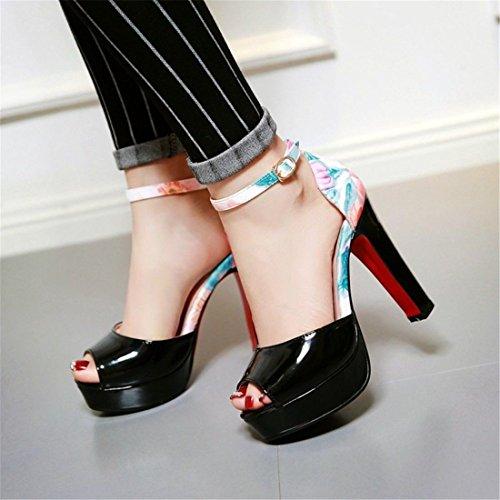 Zapatos para de Pulsera con de de los Mujer Boca Gran Impermeable Sandalias Mujer Taiwán Alto Sandalia de Un Mujeres Sandalias Tacón Black Pescado Número FtOxI7