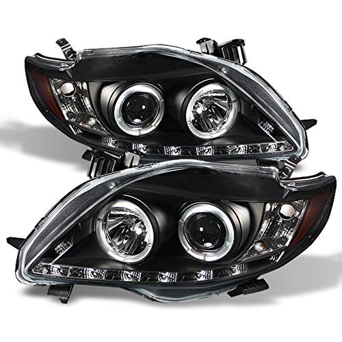 Toyota Corolla Auto Body - For Toyota Corolla Black Bezel Dual Halo Ring DRL LED Strip Projector Headlights Front Lamps Replacement
