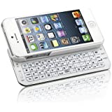 Naztech N5200 Ultra-Thin Bluetooth Wireless Slideout Keyboard Case for Apple iPhone SE/5S/5-White