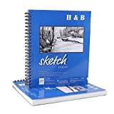 9''X12'' Sketch Book, Pad of 100-Sheets, Two Spiral Bound Artist Sketch Pad, 100 Sheets Each, Durable Acid Free Drawing Paper (68 lb./100gsm), Ideal for Kids & Adults, Bright White (2 pack, white)