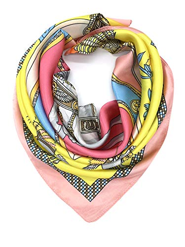 YOUR SMILE Silk Feeling Scarf Women's Fashion Pattern Pink Horse Large Square Satin Headscarf (322)