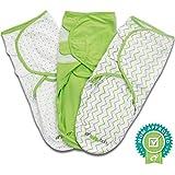 Coperta per fasciatura, regolabile, da neonato, Ziggy Baby, Set da 3 pezzi, in cotone morbido, colore: grigio con motivo chevron, a pois e verde tinta unita, in confezione regalo, per bambini, Unisex