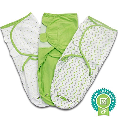 Swaddle Wrap Blanket for Babies - 3 Pack, Unisex, Universal Fit - Ziggy Baby Adjustable Infant Baby Newborn Wrap Set for Boys, Girls Soft 100% Cotton in Grey Chevron, Polka Dot and Solid Green