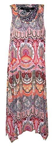 - ELLEN TRACY Handkerchief Hemline Tank Maxi Lounge Dress - Nightgown (Orange White Olive Multi Colors, Large)