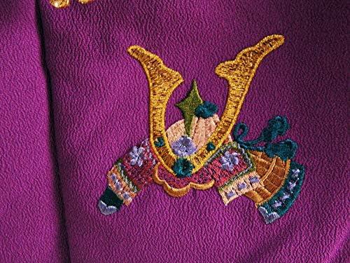 【さらさ】 男児 三歳用 被布コート カブト 赤紫系 hd-93
