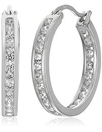 Sterling Silver Cubic Zirconia Medium Round Hoop Earrings
