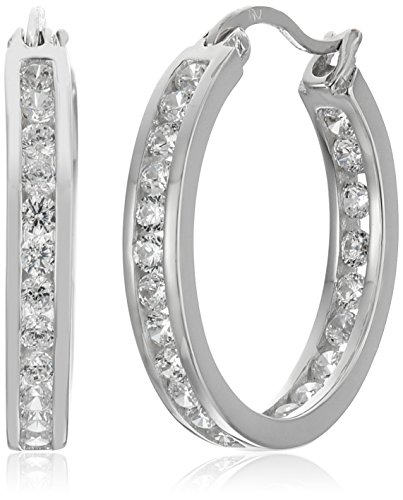 Sterling Silver Zirconia Medium Earrings