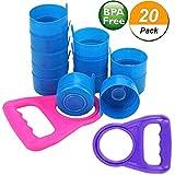 reusable 5 gallon water jugs - Wesdxc 20 Pieces Non Spill Caps Anti Splash Bottle Caps Reusable for 55mm 3 and 5 Gallon Water Jugs with 2 Pieces Water Bottle Handle(Random Color)