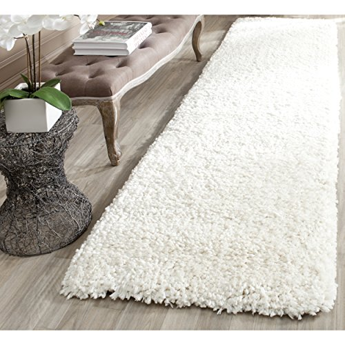 Off White Contemporary Rug (Safavieh Popcorn Shag Collection SG267A Handmade Ivory Polyester Runner (2'3