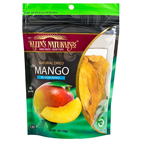 (Klein's Naturals natural dried mango no sugar added, Kosher Certified Dried Fruit, Dry Mango Slices, Resealable Pouches of dried mangoes 7-Ounce (Pack of 3))