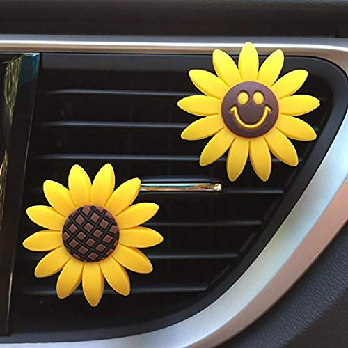 NszzJixo9 2Pcs Car Sunflower Interior Air Vent Decorations Fragrance Air Freshener Holder Set Car Fragrance Sunflower Interior Diffusser Great for ()