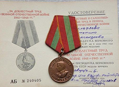 We Won For Valiant Labor WW II Original USSR Soviet Union Russian military Communist Bolshevik Medal Women Bildyaeva