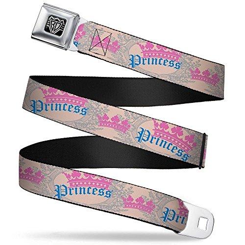 Princess Crown Belt (Buckle-Down Seatbelt Belt - Crown Princess Oval Baby Pink/Baby Blue - 1.0