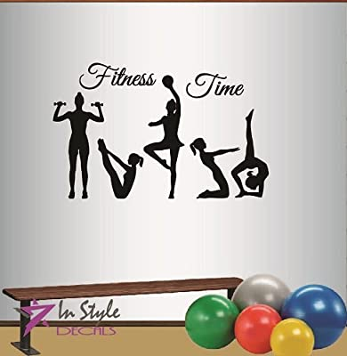 Wall Vinyl Decal Home Decor Art Sticker Fitness Time Words Sign Sports People Girls Woman Yoga Pilates Gimnastics Gym Room Removable Stylish Mural Unique Design