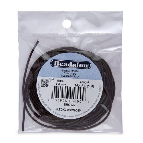 Brown Greek Leather Necklace - Beadalon Greek Leather 2.0mm Brown, 5-Meter