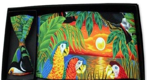Parrot-Paradise-Cummerbund-Bow-Tie-Set