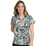 scrub tops print - Med Couture Women's Valerie V-Neck Floral Print Scrub Top Medium Print