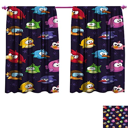 Funny Waterproof Window Curtain Angry Flying Birds Figure with Various Expressions Game Toy Kids Babyish Artsy Image Decorative Curtains for Living Room W96 x L72 -