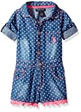 U.S. Polo Assn. Toddler Girls' Romper, Polka Dot Denim Medium Wash, 3T