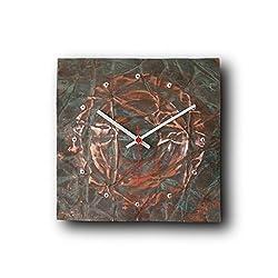 Large Copper Wall Clock 12-inch - Square Decorative Rustic Metal Original - Silent Non Ticking Quartz for Home