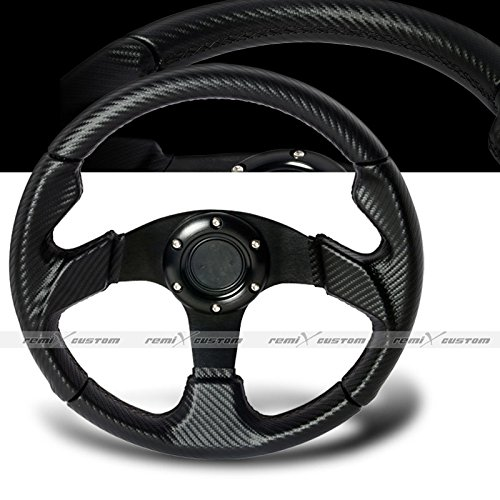 1994-2001 Acura Integra Carbon Style PVC Leather Steering Wheel with Hub Adaptor ()