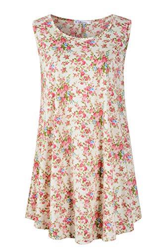 JollieLovin Womens Sleeveless Comfy Plus Size Tunic Tank Top with Flare Hem (Small (US 4-8), 7-Yellow)