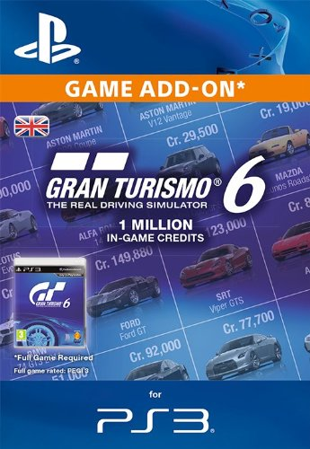 Gran Turismo 6 In-Game Currency: Credit 1 Million [PS3 PSN Code - UK account]
