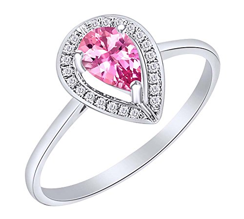 Pear Cut Simulated Ruby & Natural Diamond Halo Engagement Ring in 10K White White Sold Gold (1 Cttw)