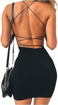just quella Women Sexy Bodycon Party Dresses Backless Spaghetti Straps Clubwear Mini Dress