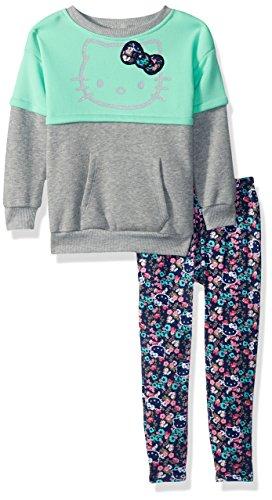 fc2052b40 Galleon - Hello Kitty Big Girls' 2 Piece Long Sleeve And Legging Set, Mint  Green, 12