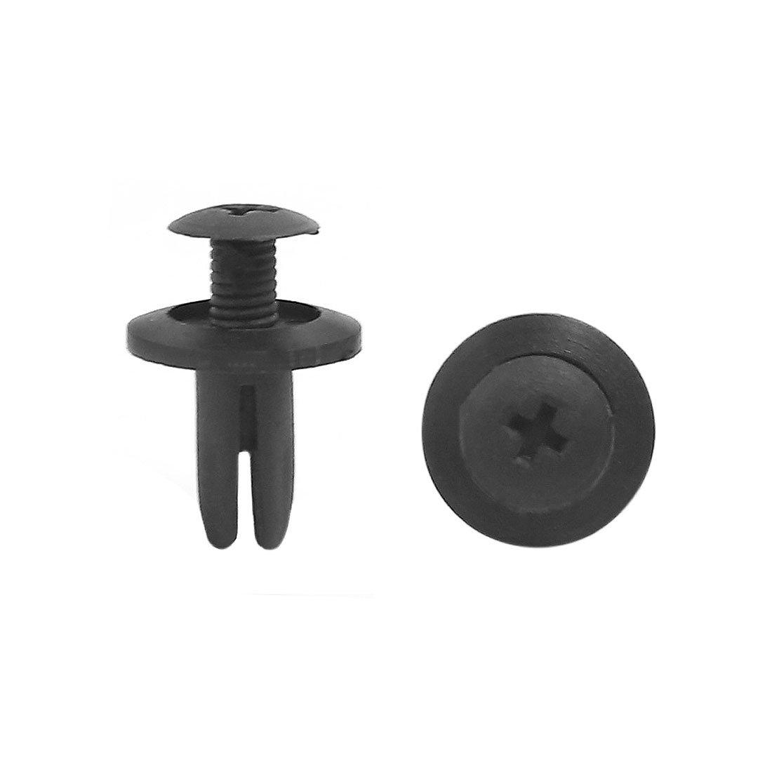 sourcing map 10pcs noire garniture de porte Clips 6mm poussoir en plastique trou Rivets a16072700ux0180