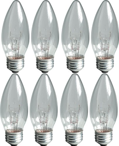 Blunt Tip Light Bulb (GE Lighting 76384 Crystal Clear 25-Watt, 170-Lumen Blunt Tip Light Bulb with Medium Base, 8-Pack)