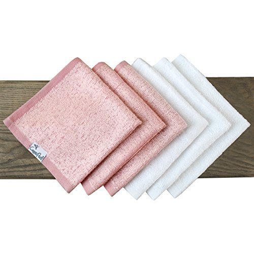 6 Soft Baby Bath Washcloths Premium Large Soft White and Pink 11 x 11 inch Rayon from Bamboo Fibers Towels by Copper Pearl