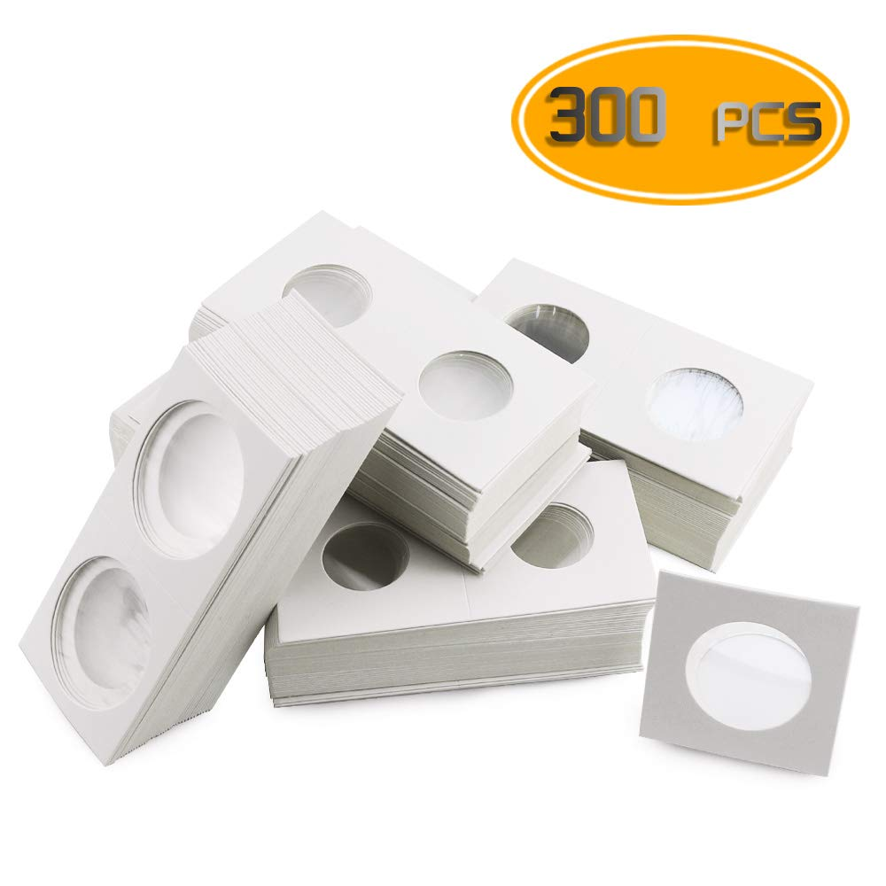Nexxxi 300 Pcs Cardboard Coin Holder, 6 Sizes 2'' x 2'' Currency Holders for Coin Collection Supplies