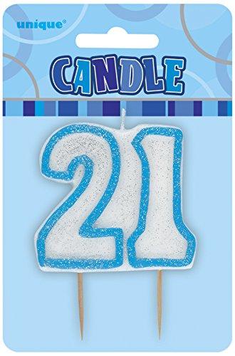 "3.5"" Blue Sparkle 21st Birthday Glitter Cake Decoration Molded Candle"