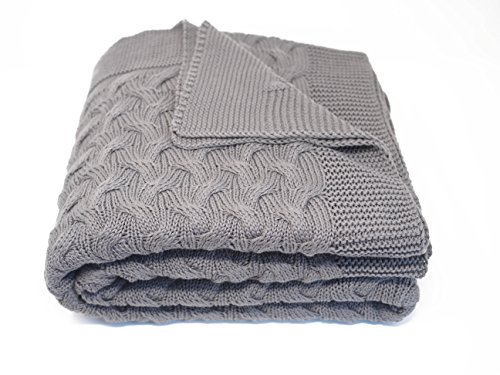 Kuprum Cotton Throw Blanket - Turkish Blanket (100% Cotton) - Throw Blanket for Couch Sofa Bed - 51 x 67 Inch - Grey