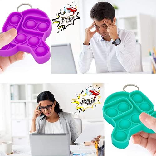Mini Simple Dimple Fidget It Toy Keychain 2 Pack Mini Fidget Simple Dimple Bubble Pop Toys Silicone Squeeze Fidget Toys Keychain Small Sensory Fidget Toys for Kids Adults (Run Purple+Run Green)