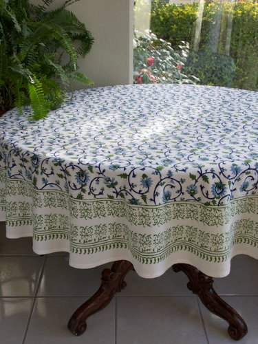 Superieur Moonlit Taj ~ Turquoise Elegant Floral Round Indian Tablecloth 90 Round