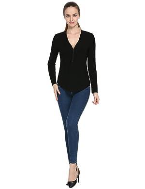 Perfashion Women's Cotton Zipper V Neck Casual Long Sleeve T shirt Sexy Blouse Tops Black L