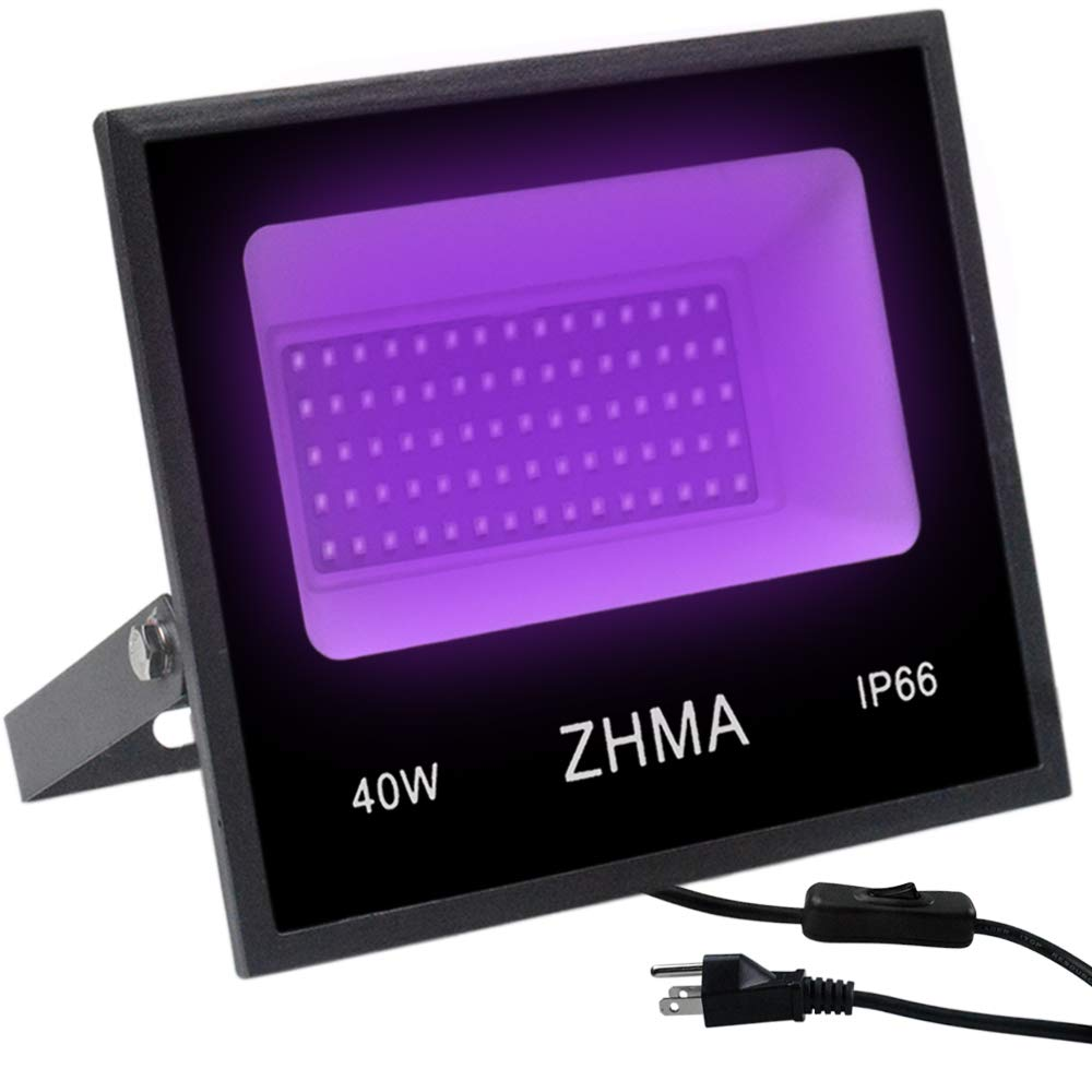 ZHMA 40W LED UV Blacklight, with Switch and American Plug,Glow in The Dark Party Supplies, IP66 Waterproof for Paint Party Supplies,Fluorescent Decoration,Black Light Dance, Illuminated Party