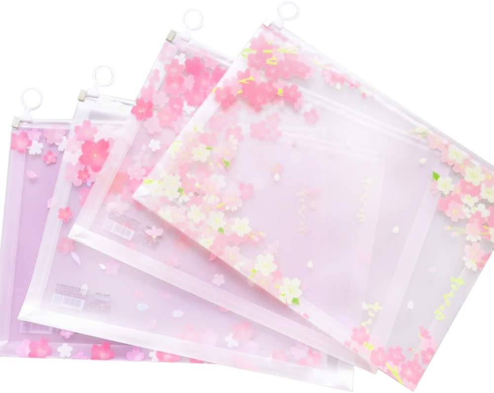 Zipper File Wallet A4 Plastic Wallet 12 Pieces File Document Bags A4 Document Wallets Transparent Travel Organizer Pouch Bags with Zipper for School,Office,Homework,File Storage,Paper Organization