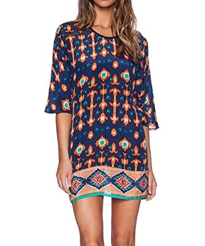 Women Bohemian Style Geometric Pattern 3/4 Sleeve Vintage Dress - 3
