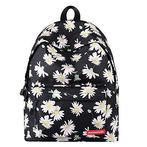 Mode kinder Mädchen Junge Vintage Canvas Rucksack Retro Rucksack Schuletasche Reisetasche Picknicktasche Outerdoor Freizeit Schwarz Rose