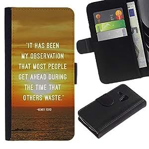 KLONGSHOP / Tirón de la caja Cartera de cuero con ranuras para tarjetas - Sunset Quote Inspiring Message Text - Samsung Galaxy S3 MINI NOT REGULAR! I8190 I8190N