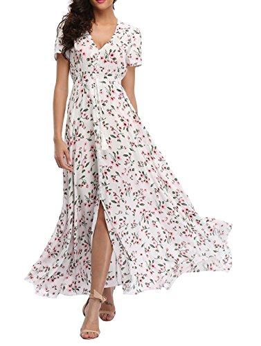 1stvital Women's Fancy Floral Print Short Sleeve Button Up Split Boho Summer Beach Maxi Dress