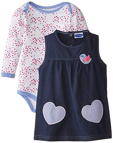 Bon Bebe Baby Girls' Chambray Jumper Set, Tweet Blue/Speckled Hearts, 24 Months ()