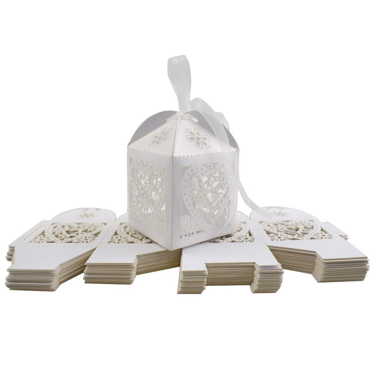Gudotra 100pz Scatole Carta Kraft Bianca+30M Corda+100pz Bigliettini Scatoline Portaconfetti per Confetti Matrimonio Battesimo Compleanno Natale Laurea Invito Regalo 6 * 9cm
