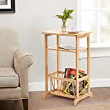 3 Tier Sofa Side Table, Bamboo Telephone/ Coffee/ End Table with Storage Basket Multifunctional Bamboo Beside Table, 17.6 x 12.6 x 28.1 inches