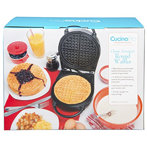 Waffle Maker- Non-stick American Waffler Iron with Adjustable Browning Control- Beeps When Ready by CucinaPro (Image #6)